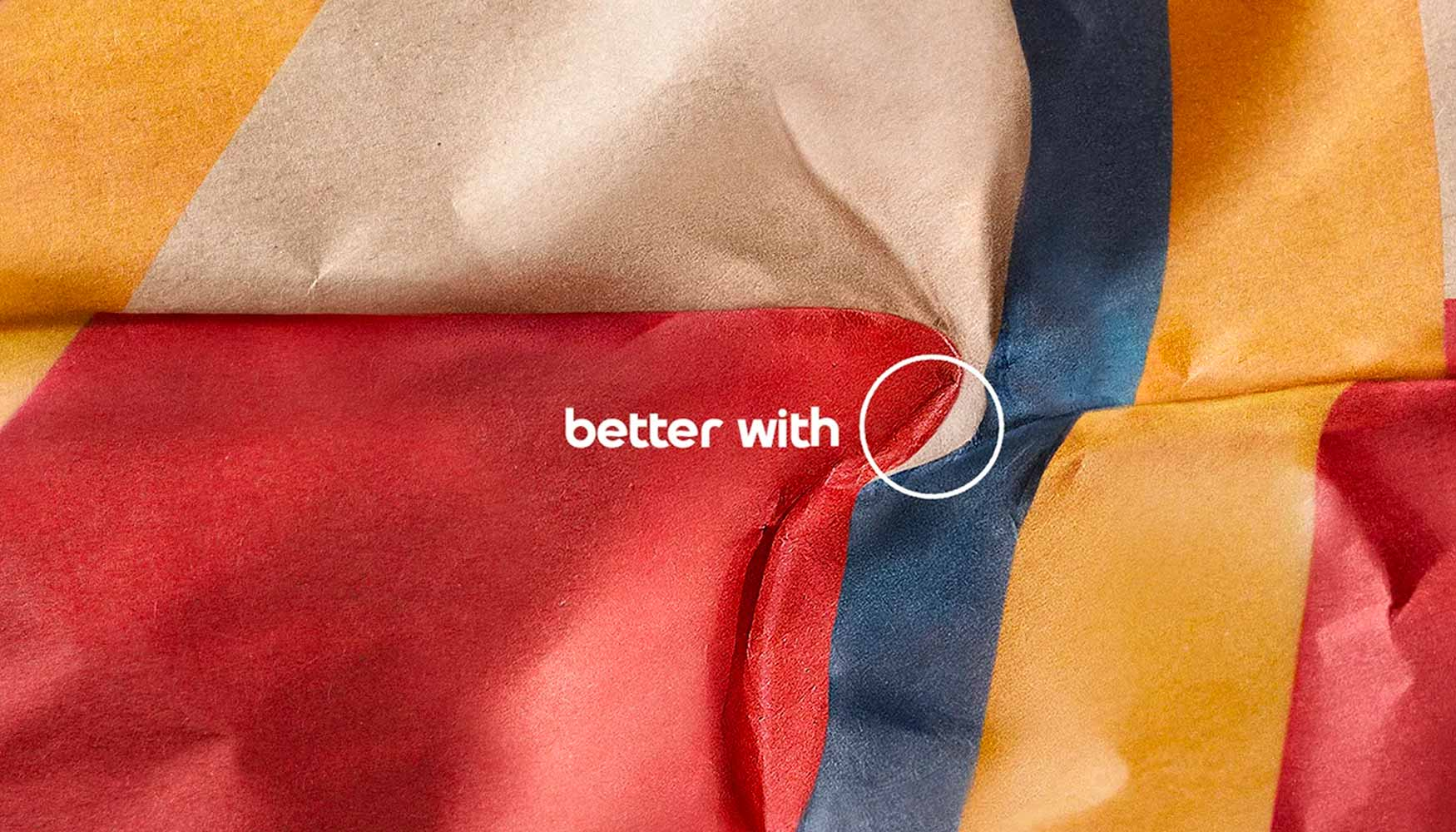 Close image of a fast food chains brown paper wrapper from the better with Pepsi campaign