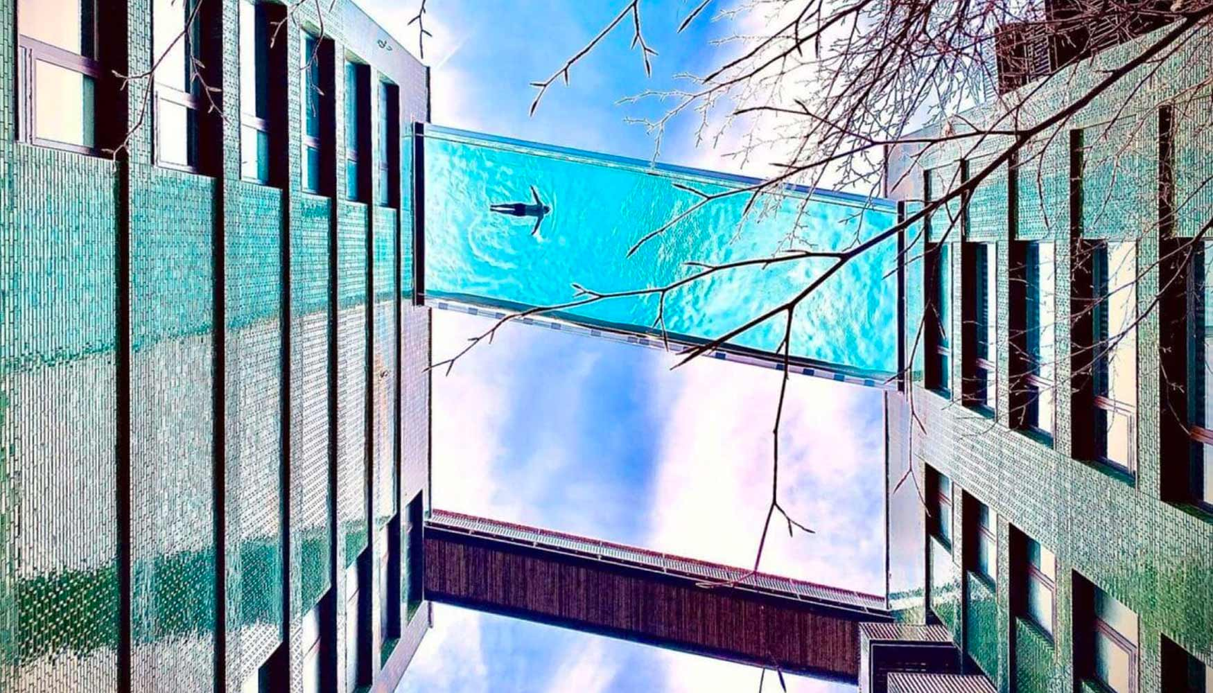 The world's first sky pool will be suspended 35m in the air between two apartment buildings at the Embassy Gardens in London.